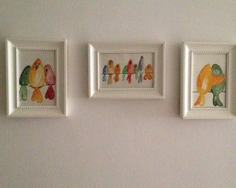 Picture set original watercolors - bird family on the line