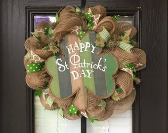 Saint Patrick's Day Wreath, St. Patrick's Day Wreath, St. Patricks Day Mesh Wreath, Saint Patrick's Day Mesh, Irish Wreath, Burlap Wreath