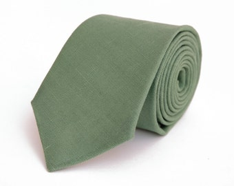 Sage green linen necktie, wedding necktie, linen necktie,  groomsmen neck, wedding tie, green necktie, green bow tie for men