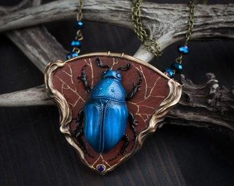 art nouveau Necklace blue beetle- blue insect-insect necklace-art nouveau necklace-bug art nouveau-bug necklace-beetle pendant