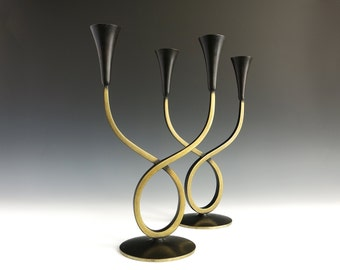 1950s Richard Rohac Candleholders - Bronze or Brass - Richard Rohac Austria Entwined Candle Holders - Modernist Mid Century Candlesticks