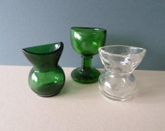 Three Antique,Vintage Glass Eye Baths, Eye Wash Cups - 2 'Bristol' Green, 'Foreign' , 'W England', clear