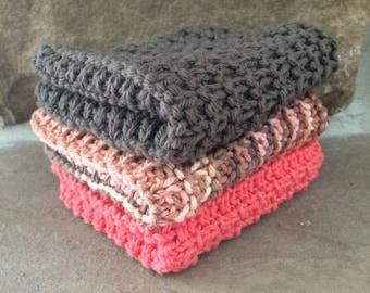 Hand Knit Cotton Dish Cloths Set of 3