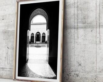 Morocco Art Print - Bahia Palace, Wall Art, Photo Print, Photographic Art, Moroccan Decor, Photo Print, Photographic Print, Black and White