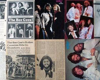 BEE GEES ~ Barry Gibb, Robin Gibb, Maurice Gibb, Saturday Night Fever ~ Color and B&W Clippings, Articles, Pin-Ups, Centerfold fm 1967-1983