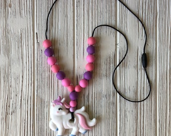 Unicorn Necklace, Silicone Unicorn, Teething Necklace, Sensory Necklace, Nursing Necklace, Babywearing Necklace, Chewelry, Silicone Necklace