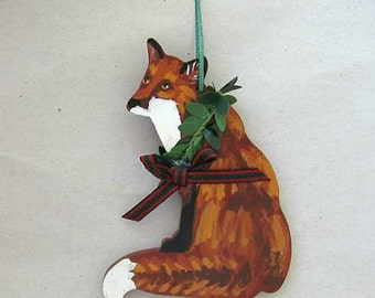 Hand-Painted RED FOX Sitting Wood Christmas Ornament Artist Original...Nicely Painted