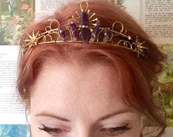The ARTEMIS Star Amethyst Quartz Crown Tiara - Prom Festival Wedding Bride Ritual Purple Headband