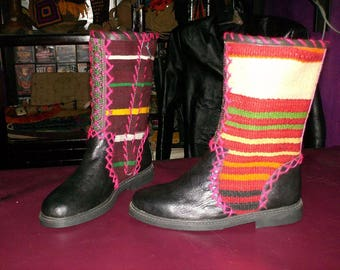 Colourful black leather boots in native ethnic style