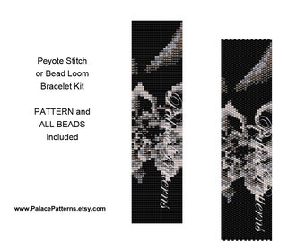 Bracelet KIT for Bead Loom or Peyote Stitch - PP204 - Bead Loom Bracelet Kit or Peyote Stitch Bracelet Kit - Pattern and all Beads Included