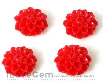 GE-3490 Resin (Red) Chrysanthemum Flower Cabochon, 8pcs