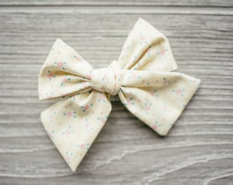 Classic Bow-Spring Bow-Vintage Yellow Floral-Hair Bow-Baby Bow-Over-sized Bow-Girls Bow