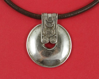 7/6 MADE in EUROPE zamak large pendant, tribal pendant, ethnic pendant , large silver pendant (Ablz125S) Qty1