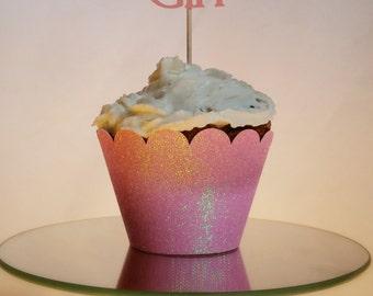 Pink Glitter Cupcake Wrap