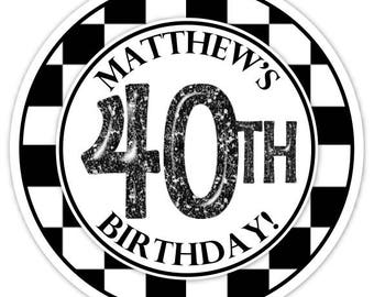 Custom 40th Birthday Labels, Black and White Check 40th Birthday Stickers - Personalized for you