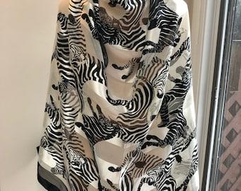 Vintage black white running zebras sheer scarf, big square sheer shadow stripes zebras scarf, sheer polyester black white zebra print scarf