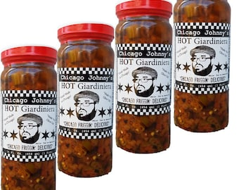 Chicago Johnnys Hot Giardiniera 4 Pack | Handmade In Chicago | Bold, Smoky, Earthy & Crunchy | Made With Olive Oil