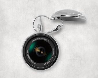 Nikon AF-P DX Nikkor Camera Lens Earrings, Camera Lover, Camera Lens Jewelry, Vintage Camera Lens, Photography Earrings, Pendeloque Pendants
