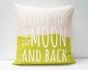 Pillow Cover - I love you to the moon and back Pillow Cover, 20x20, pink and lime green with gold confetti