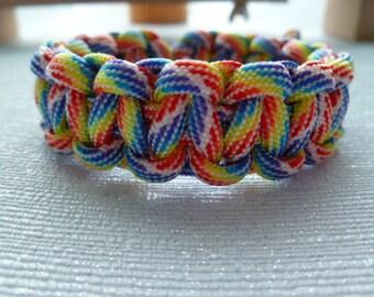 Rainbow Paracord Bracelet. Adjustable Bracelet. Survival Bracelet. Cobra Braid. Paracord. Gift for men or women. Camping. Hiking. Outdoors
