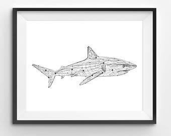Geometric Shark Print, Shark Wall Art, Geometric Animal Print, Shark Nursery Print, Minimal Art Print, Shark Printable, Shark Art Print
