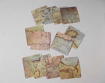 Map Tags, Destination Wedding, Jewelry Cards, Tags for Gift Bags, Scrapbooking Supply, Map Cards, Set of 12 Tags
