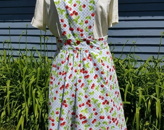 1940s Reproduction Cherry Print Pinafore with Pockets, Removeable Bib