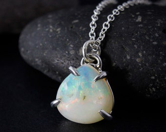 Silver Australian Opal Necklace - Opal Teardrop Pendant - October Birthstone
