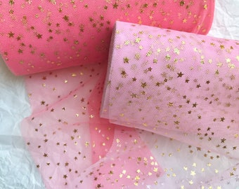 Baby Tulle, GOLD STARS TULLE, Mesh Ribbon, Many Colors