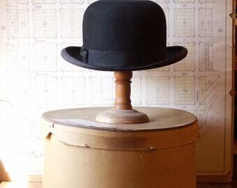 Vintage Men's Black Felt Bowler Hat from Stetson in Original Box