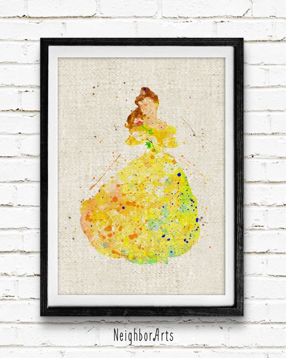 Disney Princess Belle Prints Beauty and the Beast Watercolor