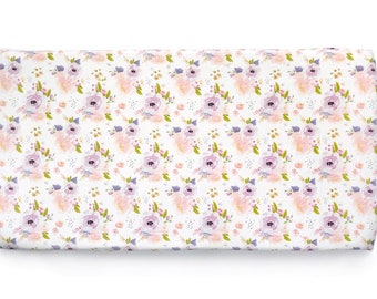 Fitted crib sheet. Blush Floral watercolor flowers roses pink spring peonies lilac purple violet watercolor. Organic crib sheet (#0115)