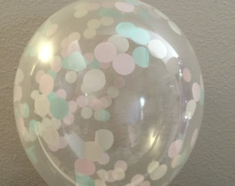 3 Cream, Pink and Mint Confetti Balloons, Party Balloon Bouquet, Birthday Balloon Decorations Wedding Balloons Decor