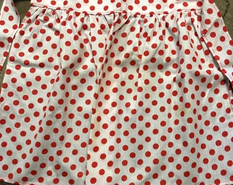 Darling Vintage Christmas  Apron with red polka dots