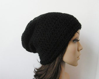 LazyDay Slouch Beanie - Black - made to order