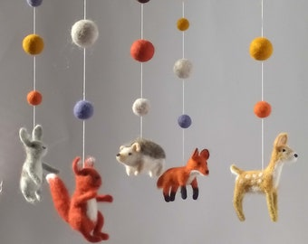 Needle Felted baby mobile Felted Wool Mobile for Nursery Forest animals mobile for Nursery Woodland  crib mobile nursery decor