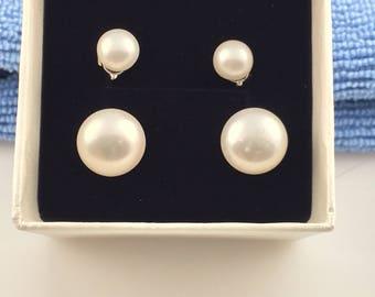 Double Pair Sterling Silver Pearl Stud Earrings