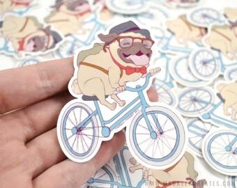 "Hipster Pug 3"" Vinyl Sticker"