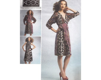 Vogue Loose Fitting Pullover Dress with Obi Sash Koos Couture Uncut Vogue Sewing Pattern 1301 Tie Belt Deep V Neckline Size 16-26 Bust 38-48