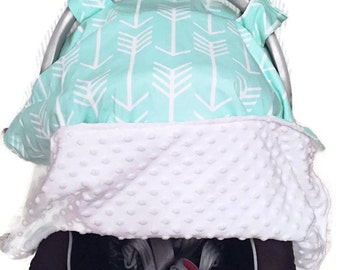 Baby Carseat Canopy. Blue Carseat Canopy. Mint Baby. Gender Neutral Baby. Minky Baby. BizyBelle