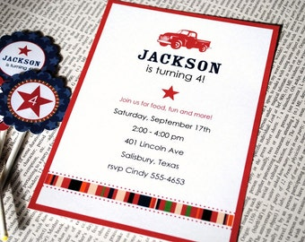 Vintage Truck Party Collection - PRINTABLE INVITATION by ItsyBelle