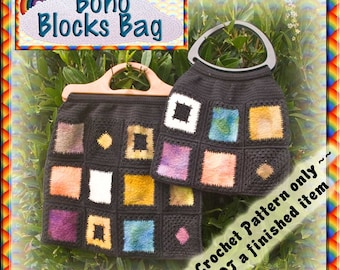 PDF Crochet Pattern Boho Blocks Bag
