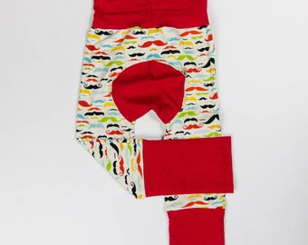 Moustaches and Red/Blue Baby Big Butt Pants - Grow with me pants - Cloth diaper friendly - Toddler - Gift