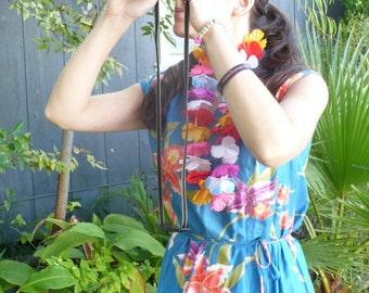 Sale Vintage 60s 1970s 60s 70s Blue Hawaii Hi Lo Hattie Tropical print Deadstock dress size M by jeansvintagecloset on Etsy