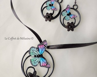 """Lilly"" fuchsia and light green, blue butterfly earrings and necklace"