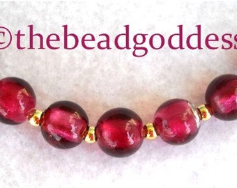 7 Outstanding Hand Made LAMPWORK FOIL Beads CRANBERRY Pink 10mm