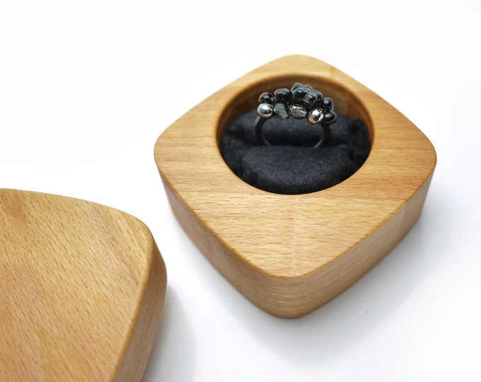 Wedding or Engagement Ring Box, Fine Wooden Ring Box