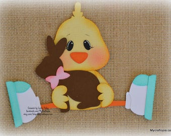 Easter Chick with Chocolate bunny Premade Scrapbooking Embellishment Paper Piecing