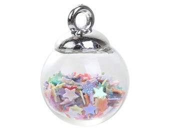 Glass Bubble Charms -- Filled with Multi-colored stars -- With or Without Lobster Clasp Attached