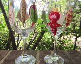 Hand Painted Christmas Ornament Wine Glass